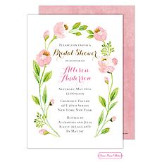 Pink Botanical Wreath Foil Invitation -