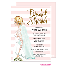 Vintage Bride Stripes Foil Invitation -