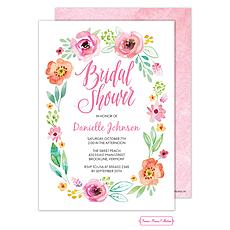 Watercolor Blossom White Invitation -