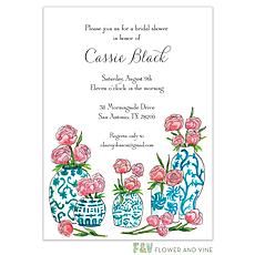 Blue China and Peony Invitation -