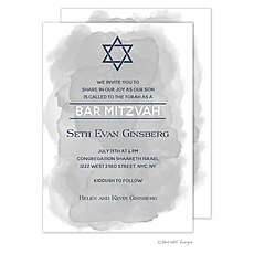 : Grey Wash Star of David Invitation