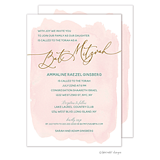 : Blush Wash Foil Pressed Bat Mitzvah Invitation
