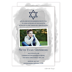 : Slanted Grey Wash Star of David Photo Card