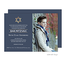 : Golden Star of David Photo Bar Mitzvah Photo Card