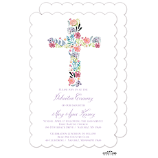 : Floral Cross Invitation