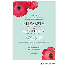 : Painted Poppies Wedding Invitation