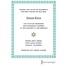: Striped Edge Dark Aqua Invitation