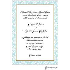 : Lace Damask Edge Aqua Invitation