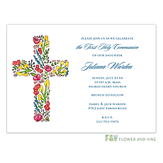 Floral Cross Invitation -