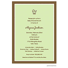 : Scallop Border Spring Green Invitation