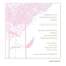: Dandelions Pink Square Invitation