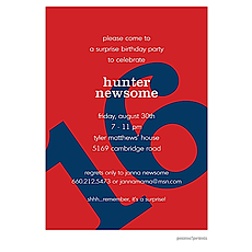 Big Birthday Invitation - Navy on Red -