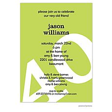 : Big Birthday Invitation - White on Chartreuse