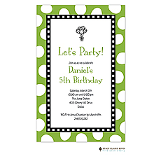 Jumbo Party Dots - Lime Invitation -
