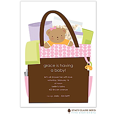: All In The Bag Pink Baby Shower Invitation