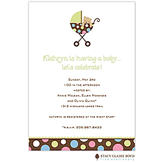 : Polka Pram Shower Invitation