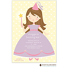 : Pretty Princess Brunette Party Invitation