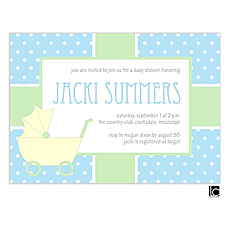 : Yellow baby carriage and polka dots baby shower invitation