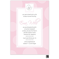 : Pink circle baby shower invitation