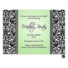 Black and white damask bridal shower invitation -