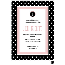 Black and white polka dotted bridal shower invitation -