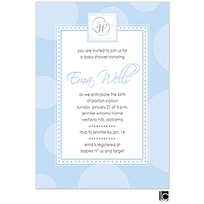 : Blue circle baby shower invitation