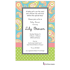 : Melon Paisley Invitation