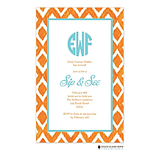 Ikat - Orange Invitation -