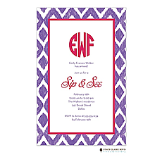 : Ikat - Purple Invitation