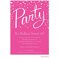 Party Hot Pink Invitation -