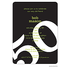 : Big Birthday Invitation - White on Black
