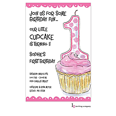: Pink One Invitation
