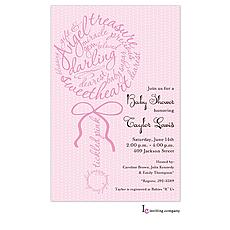 : Rattle Script Pink Invitation