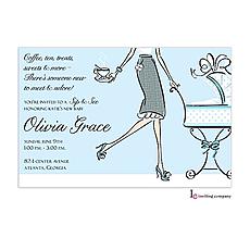 : Tea Mom Blue Invitation