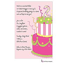 : Girl 2 Cake Invitation