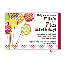 : Chevron Balloons Invitation