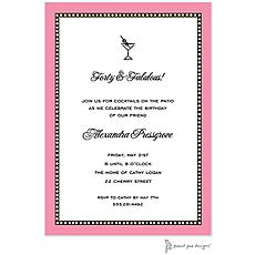 : Beaded Border Deep Pink Invitation