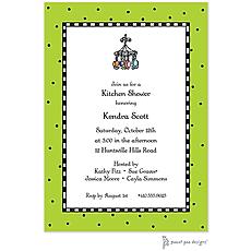 : Checks & Dots Lime Invitation