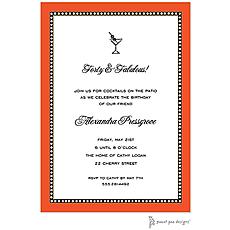 : Beaded Border Orange Invitation