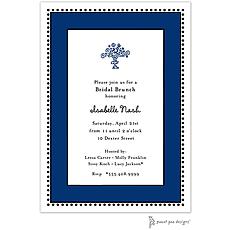 Antique Bead Border Navy Invitation -