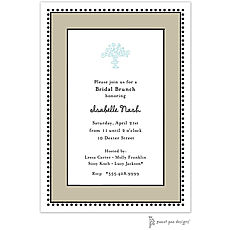 Antique Bead Border Taupe Invitation -