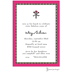 : Rice Bead Border Hot Pink Invitation