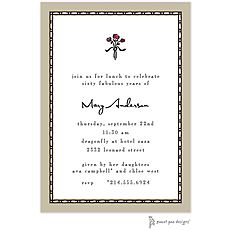 : Rice Bead Border Taupe Invitation