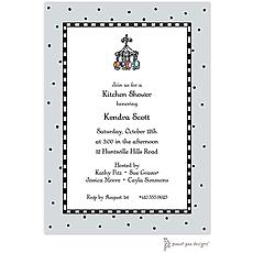 Checks & Dots Silver Invitation -