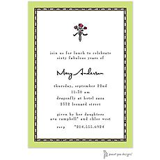 : Rice Bead Border Lime Invitation