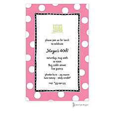 : Big Dots Deep Pink & Black Invitation