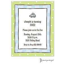 Cool Checks Blue & Lime Invitation -