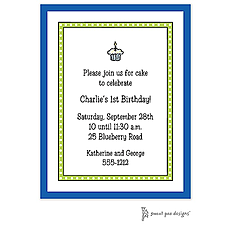 Dotted Border Lime & Blue Edge Invitation -