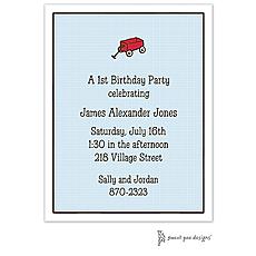 : Linen Blue Invitation