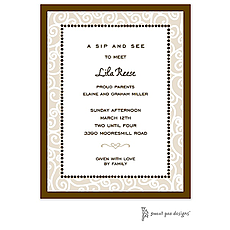 : Scrollwork Latte Invitation